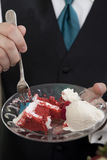 Red velvet cake being eaten Royalty Free Stock Photo