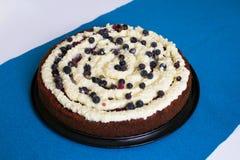 Red velvet cake on blue background Royalty Free Stock Photo