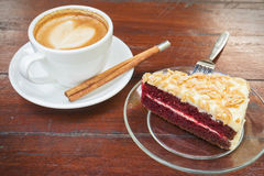 Red velvet cake with coffee cup Stock Photo