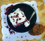 Red velvet cake with cream cheese royalty free stock photography