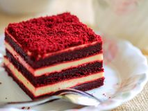 Red velvet cake and a cup of tea Royalty Free Stock Photos
