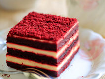 Red velvet cake and a cup of tea Royalty Free Stock Photography