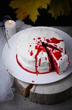 Red velvet cake decorated for Halloween Royalty Free Stock Images