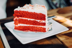 Red velvet cake. On dish Royalty Free Stock Images
