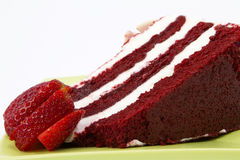Red Velvet Cake Garnished with Strawberries Royalty Free Stock Image