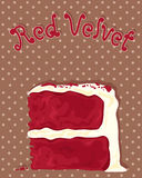 Red velvet cake. An illustration of a delicious slice of red velvet cake with creamy frosting on a chocolate dotty background Royalty Free Stock Image