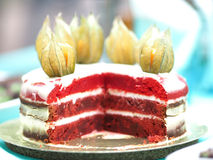 Red velvet cake at  picnic, close-up, decorated Stock Photo