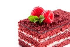 Red Velvet cake piece close-up isolated on white background Royalty Free Stock Image