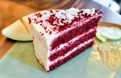Red velvet. Cake recipe on the table Royalty Free Stock Photography