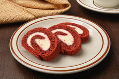 Red velvet cake roll Stock Photos