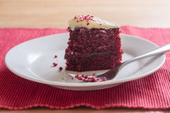 Red velvet cake slice with fork Royalty Free Stock Photography