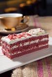 Red velvet cake. Slice of red velvet cake on plate Royalty Free Stock Photo