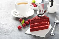 Red velvet cake slice. With a cup of cofee stock images