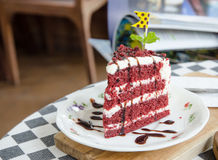 Red velvet cake. On the table in coffe break time Stock Images