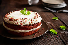 Red velvet cake with whipped cream and mascarpone filling. Traditional Red velvet cake with whipped cream and mascarpone filling royalty free stock images