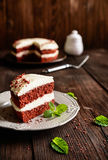 Red velvet cake with whipped cream and mascarpone filling. Traditional Red velvet cake with whipped cream and mascarpone filling royalty free stock photography