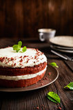 Red velvet cake with whipped cream and mascarpone filling. Traditional Red velvet cake with whipped cream and mascarpone filling royalty free stock photo