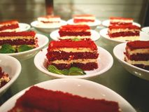 Red velvet cake on a white plate, and decorated with mint leaves.  Stock Photography