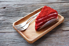 Red Velvet Cake. With wood plate Stock Photography