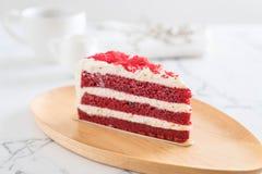 Red velvet cake. On wood plate Royalty Free Stock Photo