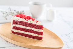 Red velvet cake. On wood plate Royalty Free Stock Photos