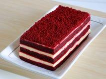 Red velvet cake. On wood table Royalty Free Stock Image