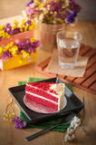 Red velvet cake. On wood table with morning scene Royalty Free Stock Image