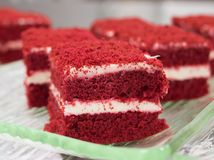 Red velvet cakes. Close up Stock Photos