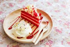 Red velvet cakes on flower vintage background. Stock Images