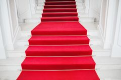 Free Red Velvet Carpet. Climb The Stairs. Prestigious Nomination. Stairway Go Up. Business Success. Stairs Covered With Red Carpet. Stock Photo - 161017580