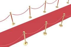 Red velvet carpet and rope barrier. 3d illustration Stock Photography