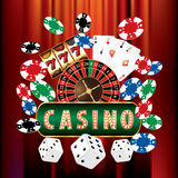 Red velvet casino. VECTOR CASINO AND GAMBLING ICONS ON RED VELVET Stock Photos