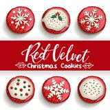 Red velvet chocolate chip cookies on white background. With calligraphy design Vector illustration royalty free illustration