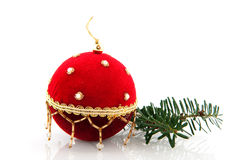 Red velvet christmas ball Stock Photo