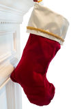Red velvet Christmas stocking Stock Photos