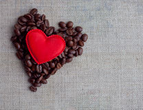 Red velvet  and coffee hearts on background Royalty Free Stock Image
