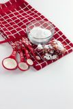 Red Velvet Cookies for Christmas. Homemade Red Velvet Cookies on a white isolated background royalty free stock image