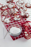 Red Velvet Cookies cooling on a baking rack Royalty Free Stock Photography