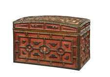 Red velvet covered trunk chest old antique Royalty Free Stock Image