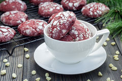Red velvet crinkle cookies with chocolate chips Royalty Free Stock Photo