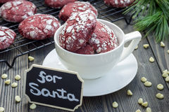 Red velvet crinkle cookies with white chocolate chips Stock Images