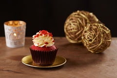 Red velvet cupcake on Christmas background Royalty Free Stock Photo
