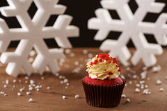 Red velvet cupcake on Christmas background Royalty Free Stock Photos