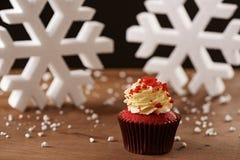 Red velvet cupcake on Christmas background Royalty Free Stock Photos