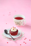 Red Velvet Cupcake with Cream Cheese Frosting Stock Images