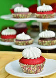 Red Velvet Cupcake. A red velvet cupcake with vanilla frosting with various cupcakes on the background Stock Images