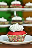 Red Velvet Cupcake. A red velvet cupcake with vanilla frosting with various cupcakes on the background Royalty Free Stock Photo