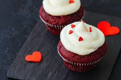 Red velvet cupcakes with cream cheese frosting. On a black slate board stock photo