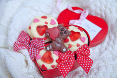 Red velvet cupcakes decorated with hearts Stock Photo