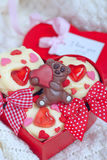 Red velvet cupcakes decorated with hearts Royalty Free Stock Photography